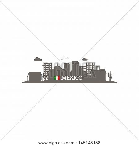 Mexico skyline silhouette with name of country and flag. Vector illustration