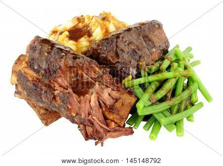 Beef short rib and mashed potato meal isolated on a white background