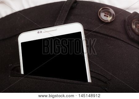 Technology and modern portable new generation. Smartphone in trousers pocket mobile phone business outfit.