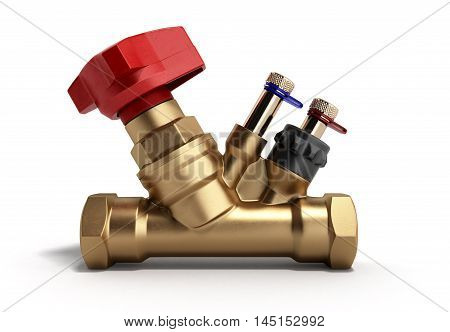 Crane Balancing Valve Without Draining For Plumbing 3D Rendering On A White Background