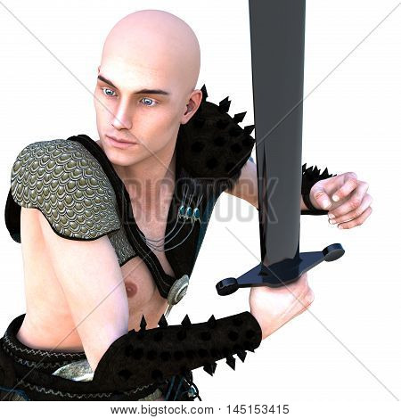 one young bald warrior in the Roman light armor. Barbaric. He is waiting for the block. Close to the camera. Bronze sword in his right hand. 3D rendering, 3D illustration