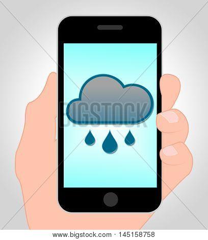 Rain Forecast Online Indicates Internet Rainfall 3D Illustration