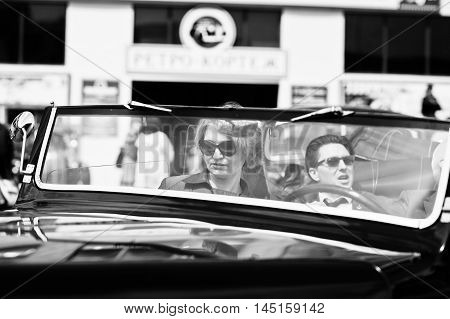 Podol, Ukraine - May 19, 2016: Elegant Woman On Sunglasses Sitting On Maybach Cabriolet, Luxury Clas