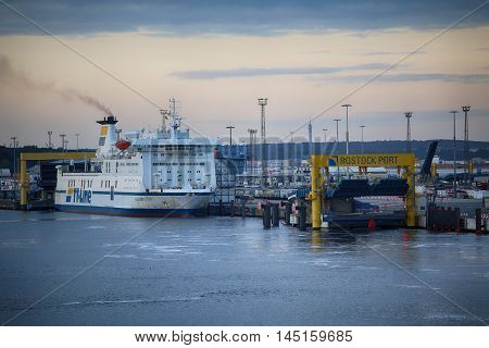 ROSTOCK GERMANY - AUGUST 14 2016: Shipping line rostock-gedser ferry in the seaport of Rostock. Rostock is Germany's largest Baltic port in Rostock Germany on August 14 2016.