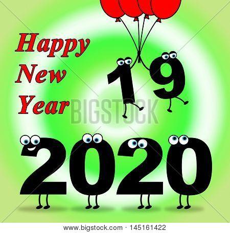 Two Thosand Twenty Indicates 2020 New Year 3D Illustration