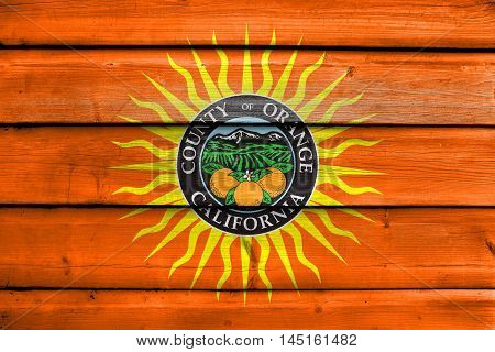 Flag Of Orange County, California, Usa, Painted On Old Wood Plank Background