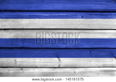 Flag Of Oslo, Norway, 1924-2000, Painted On Old Wood Plank Background