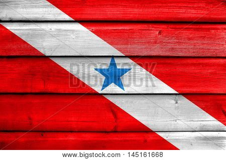 Flag Of Para State, Brazil, Painted On Old Wood Plank Background