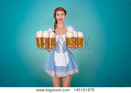 isolated bavarian waitress on background