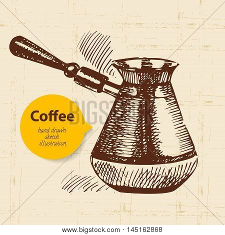 Hand drawn vintage coffee background sketch vector background