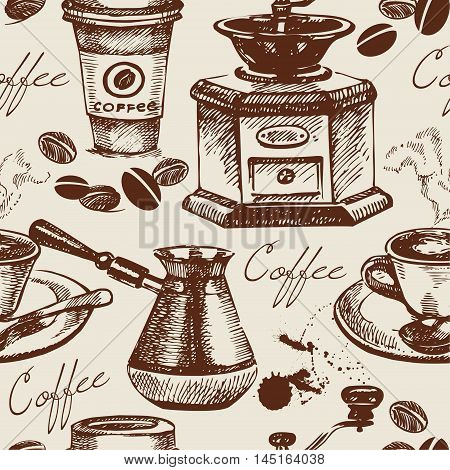 Vintage coffee seamless pattern. Hand drawn illustration