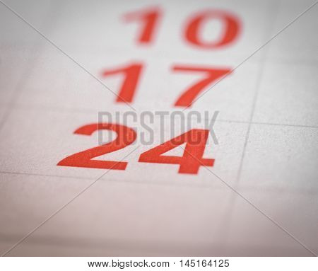 close up red white calendar twenty four