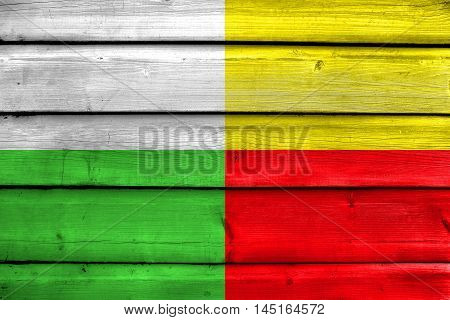 Flag Of Plzen, Czechia, Painted On Old Wood Plank Background