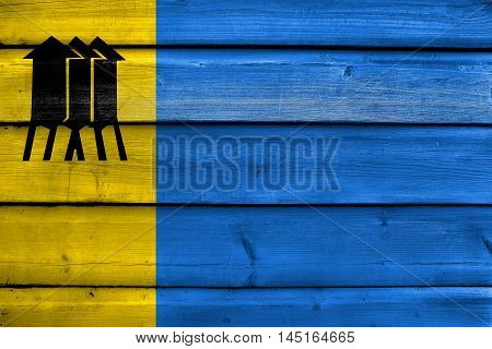 Flag Of Porto Velho, Rondonia, Brazil, Painted On Old Wood Plank Background