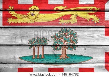 Flag Of Prince Edward Island Province, Canada, Painted On Old Wood Plank Background