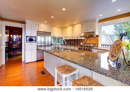 Luxury White Kitchen With Beautiful Granite