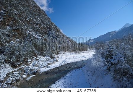 Winter view of the Fella River Valley with snow