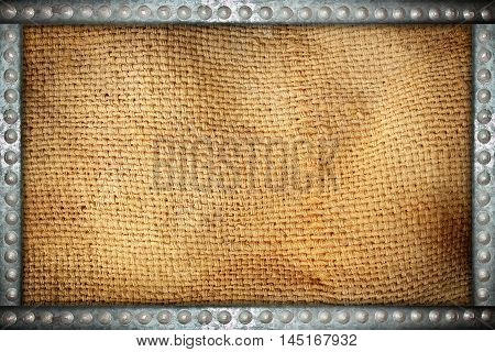 sack texture with metal rivets background frame