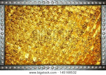 Gold sparkle glittering background with metal rivets frame