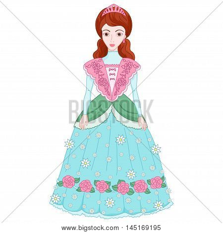 Illustration of beautiful brunette princess in ancient dress with flowers 19 century, cute lady noblewoman, vector
