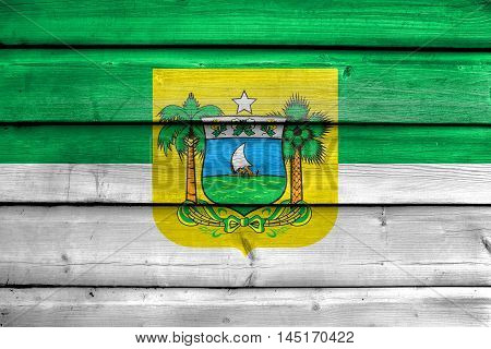 Flag Of Rio Grande Do Norte State, Brazil, Painted On Old Wood Plank Background