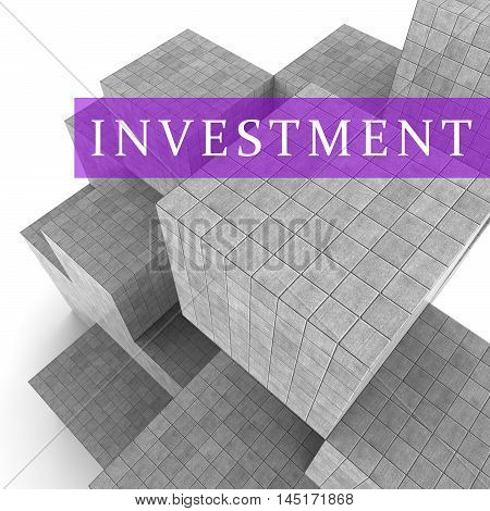 Invest Blocks Indicate Return On Investment 3D Rendering