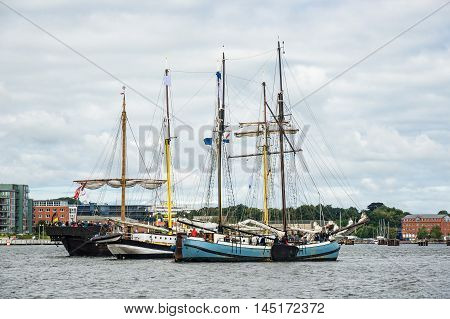 Sailing ships on the Hanse Sail in Rostock (Germany).