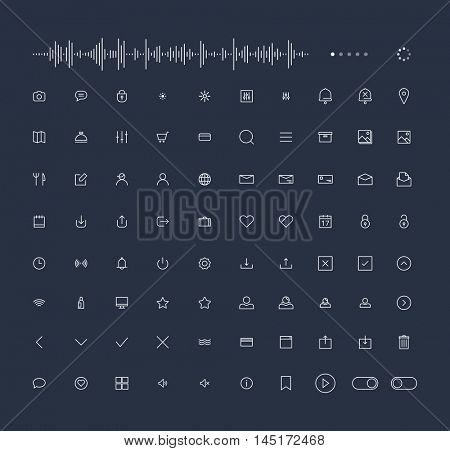 Trendy Thin Line Icons for web and mobile Set
