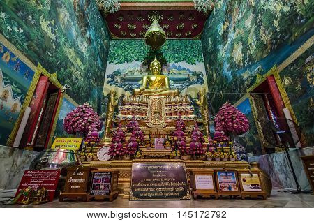 NAKHON PATHOM THAILAND - FEBRUARY 25 : Luang Pho Wat Rai Khing statue has its legend that floated along the river and stopped at Wat Rai khing temple on February 25 2015 in Nakhon Pathom Thailand.