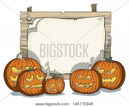 Happy Halloween, various carved pumpkins, with a blank space for text, creepy shadows, vector illustration