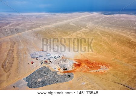 Aerial view on the mining development quarry in Namib desert Namibia