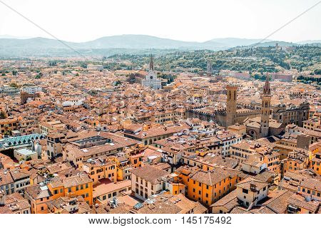 CItyscape view on the old town of Florence with Santa Croce church in Italy