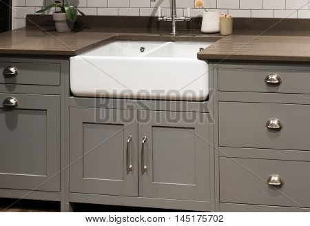 Grey Gray Luxury Bespoke Kitchen Sink with Porcelain Sink