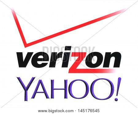 Kiev Ukraine - July 26 2016: Yahoo and Verizon Communications logos printed on white paper. Verizon Communications is a new owner of Yahoo services