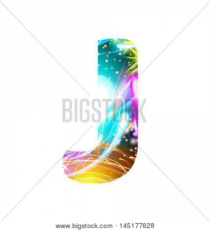 Glowing Light effect neon Font. Firework Color Design Text Symbols. Shiny letter J