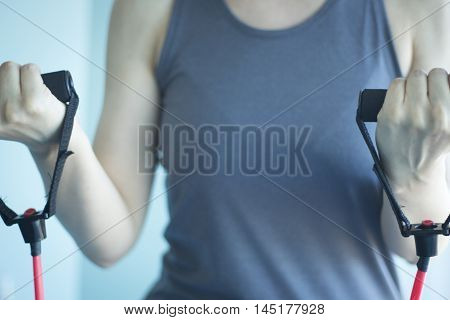 Woman Exercising Exercise Bands