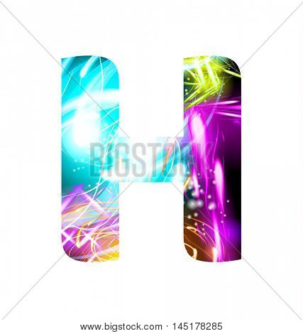 Glowing Light effect neon Font. Firework Color Design Text Symbols. Shiny letter H