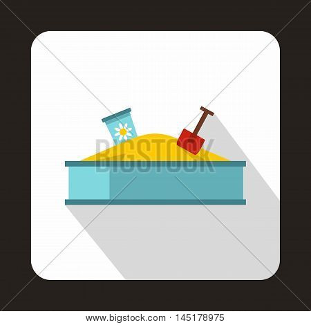 Sandbox icon in flat style isolated with long shadow