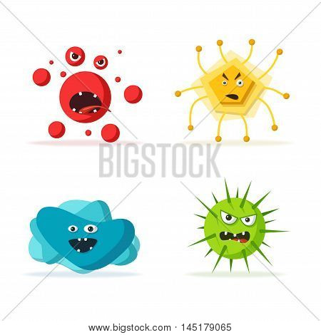 Set of bacteria characters. Cartoon vector illustration. Microbiology. Isolated background. Funny monsters. Angry viruses