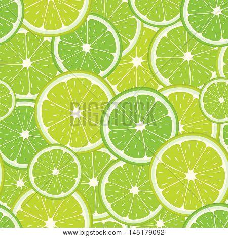 Vector seamless pattern of green lime slices. Citrus fruit illustration for design.
