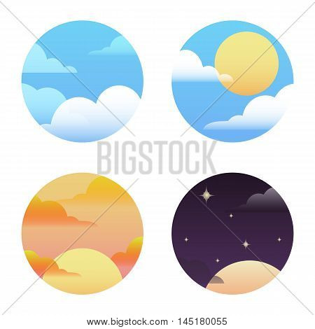 Set of round icons on the weather. Vector element for your design