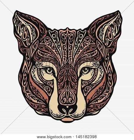 Ethnic ornamented jackal, coyote, wolf dog Vector illustration