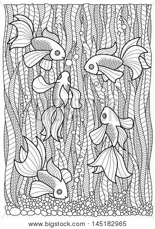 Hand drawn marine adult coloring book page fish swim in algae, anti stress zentangle A4 size