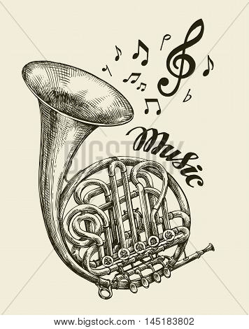 Hand drawn musical french horn. Sketch vintage trumpet. Vector illustration