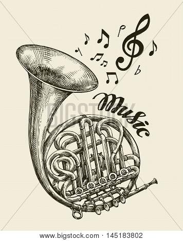 Hand drawn musical french horn. Sketch vintage trumpet. Vector illustration