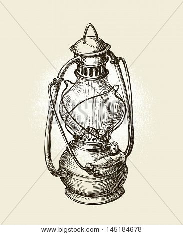 Hand drawn vintage kerosene lamp. Sketch oil lamp. Vector illustration