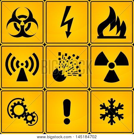 Set of square Warning Hazard Signs. in yellow and black colors. vector illustration.