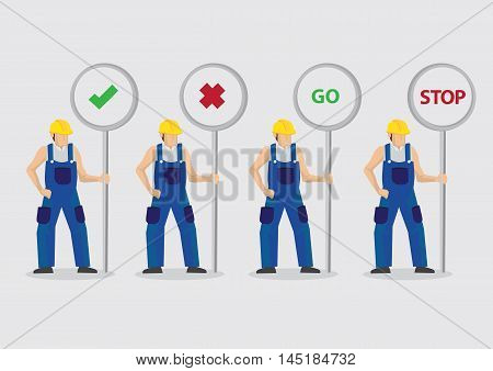 Set of four vector illustrations of cartoon construction worker character holding traffic sign posts with different symbols and messages isolated on plain background.