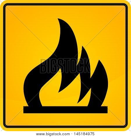 flammability sign. extremely unstable. in yellow and black colors. vector illustration.