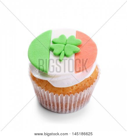 Tasty cupcake, isolated on white. Saint Patrics Day concept